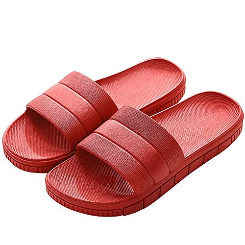 Sommer Badelatschen Damen Streifen Hausschuhe Indoor-Haus Anti-Rutsch Dusche Badeschuhe Schlappen rutschfest Pantoffeln Gartenschuhe Home Slippers Damen Plastik Schuhe Sandal Gr. 40/41 EU Rot