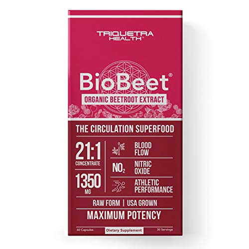BioBeet® Max Strength Beet Root Capsules - 21:1 Concentrate, Each Serving Derived from 28,350 mg Organic Beetroot - Absorption Enhancement with BioPerine® Black Pepper Extract | 60 Capsules