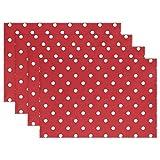 OWahly Tischsets weiß gepunktet auf rot Urlaub Platzmatten hitzebeständig waschbar Polyester für Esstisch Küche Tischdeko, Polyester, Multi, 4 Stück