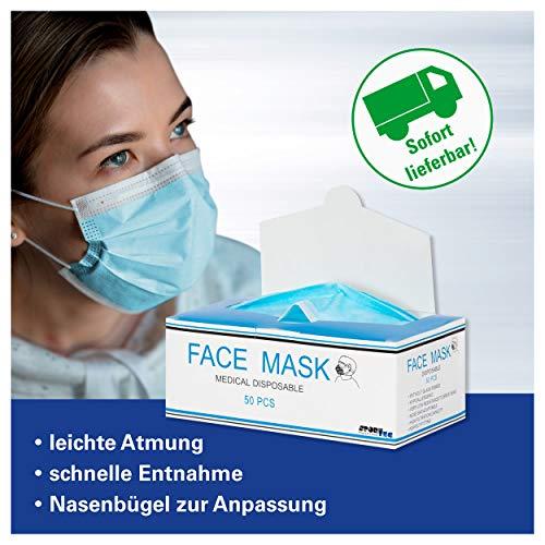 Einweg Mundschutz Maske Medizin mit Nasenbügel 50 Stück, blau