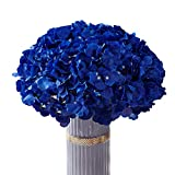 Atinart Hydrangea Silk Flowers Royal Blue Full Artificial Hydrangea Flowers Heads Pack of 10 for Home Wedding Party Shop Baby Shower Bridal Shower Bouquets Table Centerpiece Decor