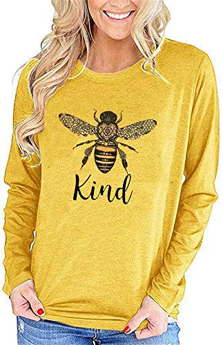 Qianxitang Women's Long Sleeve T Shirt Be Kind Cute Graphic Tops Cotton Crew Neck Funny Shirts Blouses (Yellow,X-Large)