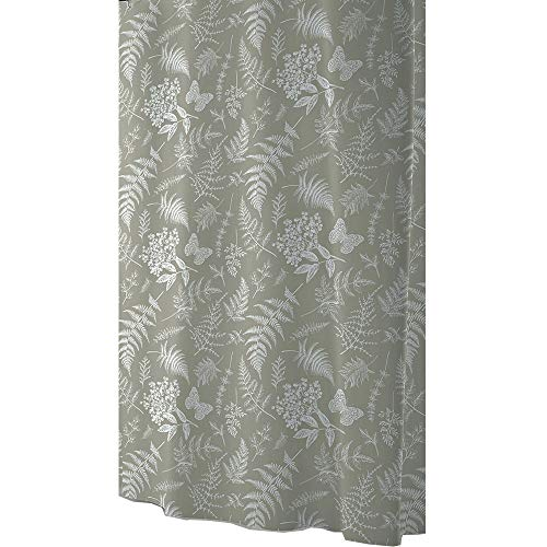Ekershop Duschvorhang aus Stoff FRÜHLING Khaki Weiss Textil Duschvorhang in der Größe 120 cm Breit x 200 cm Hoch inkl. Ringe