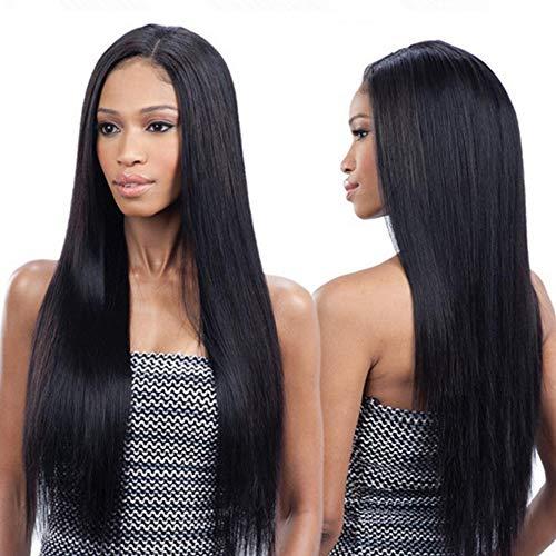 Ruisi Peluca recta completa de 66 cm de largo natural negro pelucas para las mujeres y red de pelo gratis