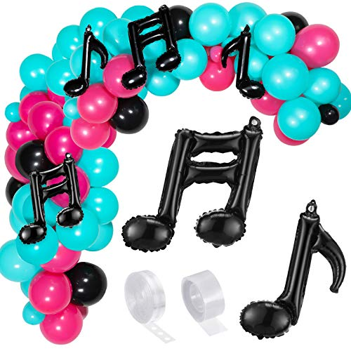 141 Pieces Music Balloon Birthday Balloon Garland Arch Kit, Latex Music Note Foil Balloon Party Supplies for Karaoke Musical Themes Birthday (Rose Red, Black, Blue)