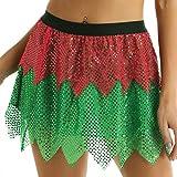 YiZYiF Disfraz Duende Elfo Mujer Disfraz Navidad Sexy Mujer Falda Corta Fiesta con Lentejuelas Cintura Elástica Traje Cosplay Carnaval Despedida Rojo y Verde Small