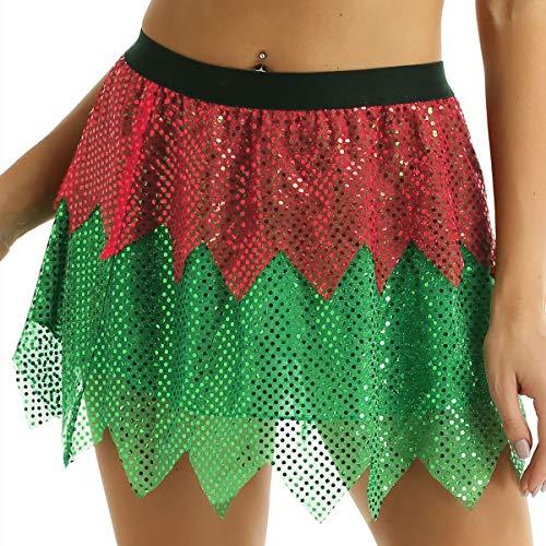 YiZYiF Disfraz Duende Elfo Mujer Disfraz Navidad Sexy Mujer Falda Corta Fiesta con Lentejuelas Cintura Elstica Traje Cosplay Carnaval Despedida Rojo y Verde Small