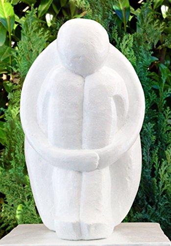 Tiefes Kunsthandwerk Steinfigur Single in Weiss, abstrakte Deko-Figur für Haus und Garten, Moderne Statue als Garten-Figur