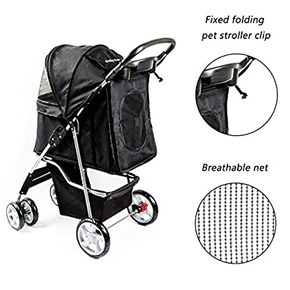 Display4top Pet Travel Stroller Dog Cat Pushchair Pram Jogger Buggy With 4 Wheels (Black) 6