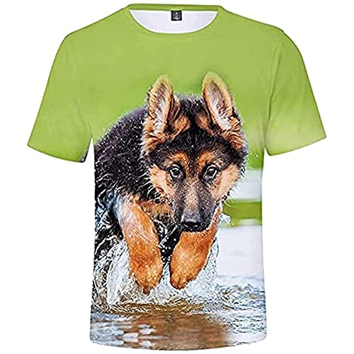 Unisex T-shirt z Nadrukiem Owczarka Niemieckiego z Nadrukiem 3d - Owczarek Niemiecki 3D z Cyfrowym Nadrukiem w Kolorze Cyfrowym na co Dzień z Krótkim Rękawem na Lato (Color : D, Size : 3XL)