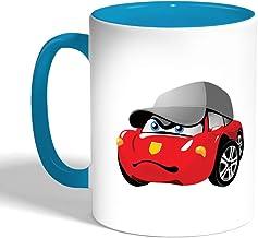 Decalac Printed Coffee Mug, Turqoise Color, Cartoon characters - car, Ceramic