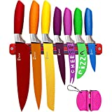 Chefcoo Kitchen Knife Set Plus Magnetic Strip and Sharpener One Cutlery Knives-Best Color Cooking Gadgets-Includes Cheese, Pizza, Paring, 14.5 x 10.9 x 1.5 inches, Red, Yellow, Blue, Green, Pink