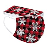 Masoness 50 Stück Einmal-Mundschutz Weihnachten Drucken 3-Lagig Atmungsaktive Weihnachtsmotiv Bandana Multifunktionstuch für Damen Männer