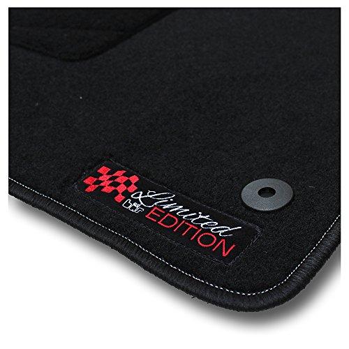 Bär-AfC SE08492n Limited Edition Auto-Fußmatten Nadelvlies Schwarz, Rand Kettelung Schwarz, Stick Logo Rot, Set 4-teilig, Passgenau für Modell Siehe Details