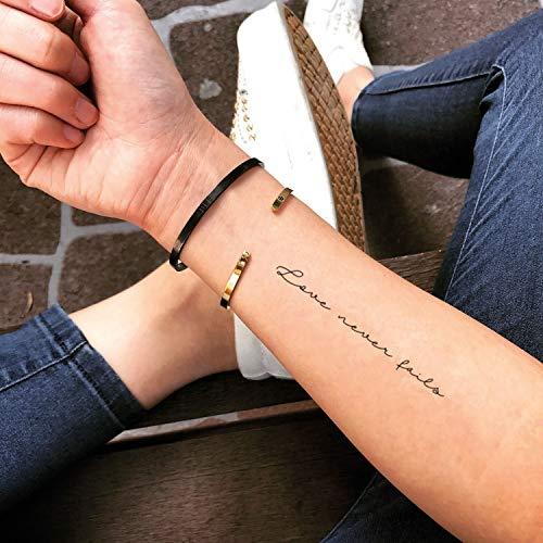 Tatuaje Temporal de El amor nunca falla (2 Piezas) - www.ohmytat.com