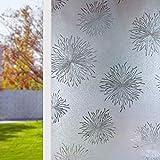 HUANGRONG Película de privacidad de flores esmeriladas, no adhesiva, autoadhesiva, autoadhesiva, protección UV, para ventanas, decoración de hogar, oficina, ventana, privacidad (tamaño: 45 x 100 cm)