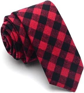 YXHM A 6CM Cotton Men's Women's Student Marriage Groom Groomsman Ceremonial Narrow tie Black red Plaid (Color : Red)