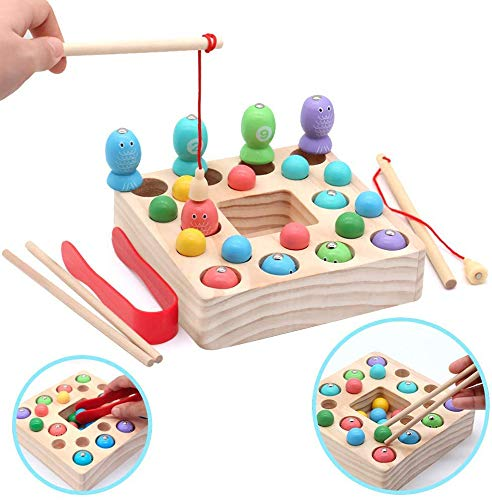 Montessori Toys for Toddlers Wooden Fishing Game Fine Motor Skill Learning Magnet Fishing Pole Clamp Chopsticks 10 Fishes & Beads Preschool Math Education Gift for Kids Child Age 3 4 5 6 Year Old
