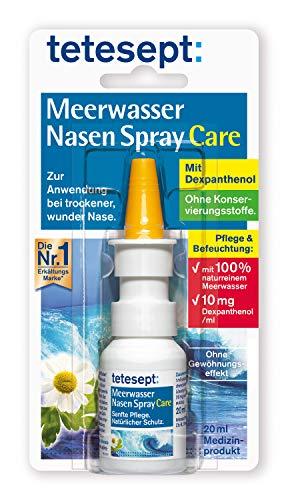 tetesept Meerwasser Nasen Spray Care – Pflegendes & abschwellendes Nasenspray zur natürlichen Reinigung & Regeneration der Nasenschleimhaut bei Erkältung – 5 x 20 ml