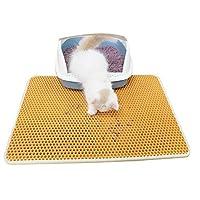 Mskikefly 猫砂マット 猫 砂 飛散防止 二重構造 滑り止めマット 折りたたみ 防カビ 防臭 防水ペット 猫の砂取りマット 給餌マット 清潔簡単 (イエロー, 30*30㎝)