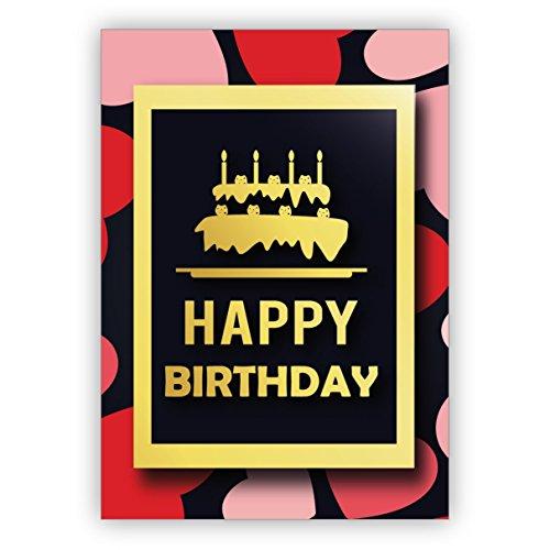 Leuke, moderne verjaardagskaart met hart en plastic verjaardagstaart op harten: Happy Birthday • rechtstreeks verzenden met uw tekst als inlegger • mooie wenskaart met envelop