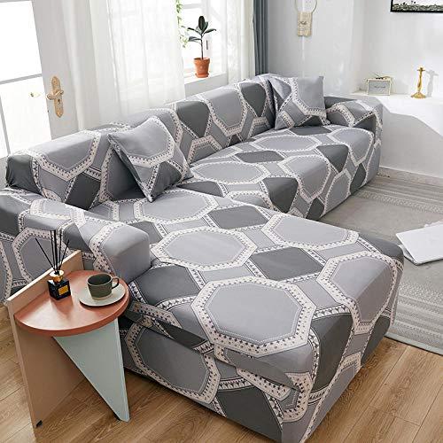 Funda de sofá elástica Estampada Fundas de sofá de Spandex elástico de poliéster - Funda Universal Ajustada para Protector de Muebles de sofá, Happiness Puzzle_Seats_for_2_People_145-185cm
