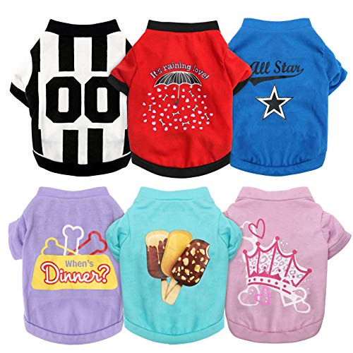 HYLYUN 6 Pieces Printed Girl Puppy Shirt - Soft Breathable Pet T-Shirt...
