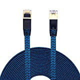 Cat 7 Ethernet Cable 5ft, Hftywy Cat 7 Ethernet Cable Nylon Braided Cat 7 Flat Internet Network Computer Patch Cord RJ45 Network Cable Cat7 LAN Cable for PC Laptop Modem Router