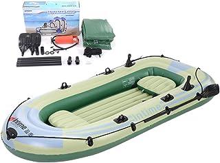 YQDS 4 Personas Barca Hinchable Lancha Bote Inflable Caucho del Barco de Pesca Bote de remos Soportar hasta 320 kg Adecuado para Pesca, Deportes acuáticos, Vacaciones y de Ocio,3