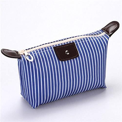 HAILI Maquillage Sac Unisexe Rayé Oxford Cosmétique Sac Doux Rond Portable Version Coréenne Maquillage Sac Zipper Voyage Sacs, Bleu