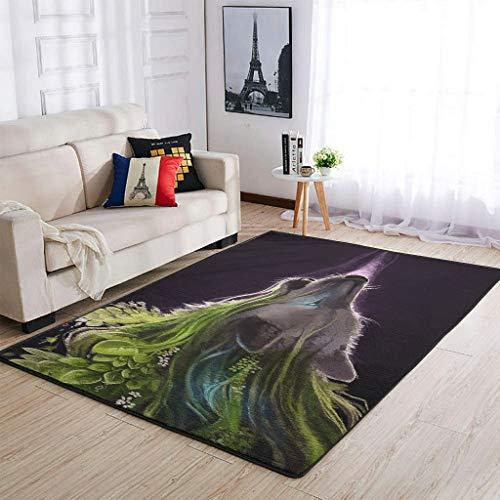 Zhouwonder Alfombra de lujo Lobo para guardería, sala de estar, dormitorio, sala de juegos, 91 x 152 cm