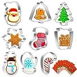 SNUNGPHIR Moldes para Galletas de Navidad 9 Piezas Cortadores de Galletas Acero Inoxidable para Pastel, Cookie, Fondant, Postre de Fiesta de Navidad