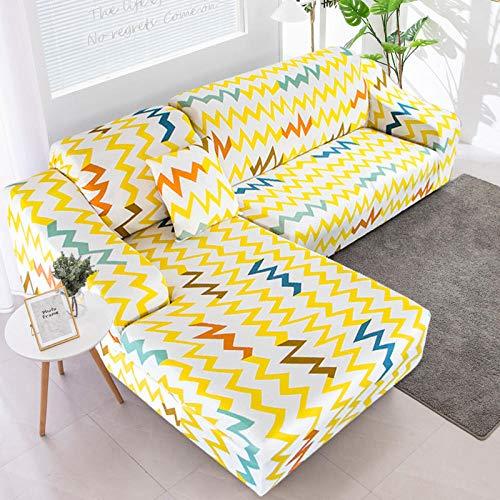 Fundas SofáCurva Amarilla Fundas Sofa Elasticas,Funda de Sofa Chaise Longue,Moderna Cubre Sofa,La Funda para Sofa Jacquard de Poliéster (235-310cm)