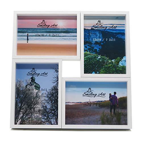 Smiling Art Bilderrahmen Fotorahmen Collage für mehrere Fotos, Foto Collage aus MDF Holz mit Glas (Weiß, 4x13x18 cm)