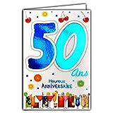 Photo de Afie 69-2134 Carte Anniversaire 50 ans Homme - Couleur (Bleue ou Rouge) selon disponibilité - Voiture de collection Vin Lecture Livres Lunettes de soleil 69-2134