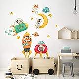 R00510 Pegatina Vinilo Pared Suave Efecto Tejido Decoración Niño Bebé Habitación Infantil Guardería Papel Pintado Autoadhesivo Espacio Cohete