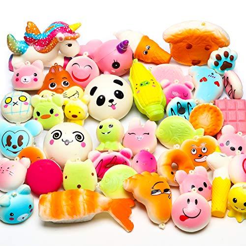 BeYumi zufällig 42 stück Mini Squeeze Spielzeug - 40 Kawaii Food Squeeze 2 Tier Squeeze Soft Cream duftende langsam steigende Squeeze Toys Phone Straps Party Favor