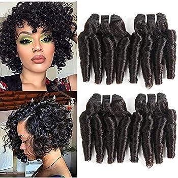 Molefi Brazilian Funmi Hair Curly Wave 4 Bundles Human Hair Black Hair Extensions Short Curly Weave Spiral Curl 8 inch Bundles 50g/pc #1B  8 8 8 8 Inch
