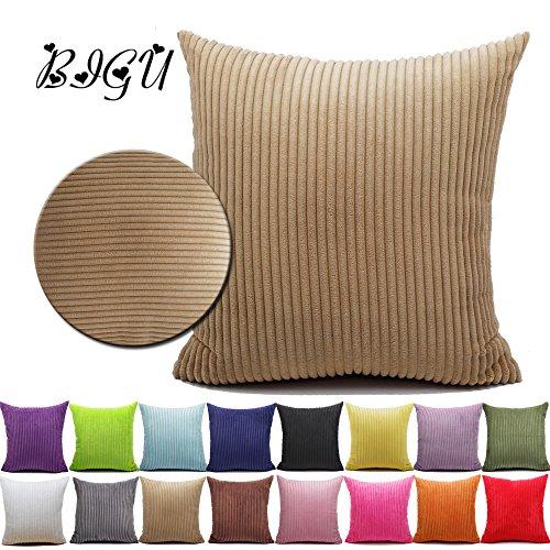 BIGU Federe per cuscini a righe in velluto a coste tinta unita Geometria Rettangolari Federa Cuscino Casa per Salotto per Divano Cuscini e federe 60x60cm cammello