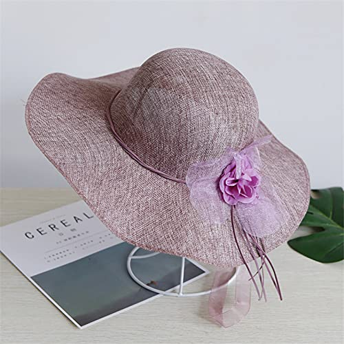 Sun hat Summer Vintage Large El Paso Mall Women Straw Max 54% OFF Flowers Eaves Hats