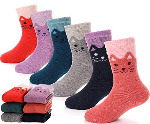 Children Wool Socks For Boy Girl Kids Toddler Thick Thermal Warm Cotton Winter Crew Socks 6 Pack (Cat, 4-7 Y)