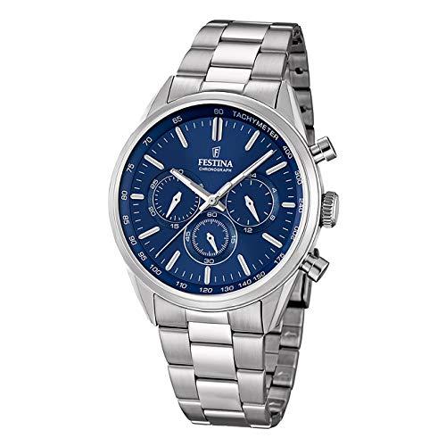 FESTINA Herren-Armbanduhr Timeless Chronograph Quarz Edelstahl silber D1UF16820/2