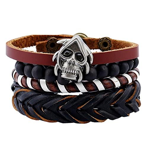 CLEARNICE Steampunk Metal Skull Leather Bracelet 4 Unids/Set Elástico Negro Cadena de Cuentas Esqueleto Hombres Pulseras Accesorios de Mano Masculina Longitud Ajustable Aproximadamente 17Cm
