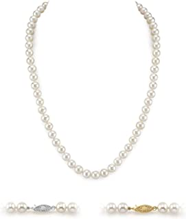 THE PEARL SOURCE 14K Gold 5.0-5.5mm AAAA Quality White Freshwater Cultured Pearl Necklace for Women in 20