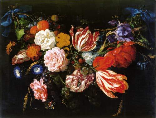 Posterlounge Acrylglasbild 80 x 60 cm: Girlande aus Blumen und Früchten von Jan Davidsz de Heem/ARTOTHEK - Wandbild, Acryl Glasbild, Druck auf Acryl Glas Bild