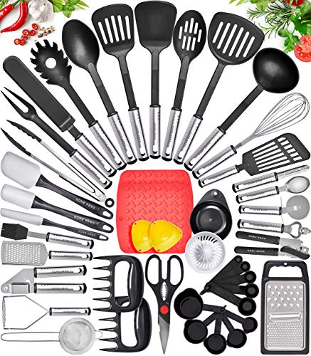 Home Hero Kitchen Utensil Set - Nylon Cooking Utensils - Kitchen Utensils with Spatula - Kitchen Gadgets Cookware Set - Kitchen Tool Set (44 Piece, Black)