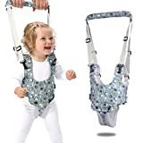 Baby Walker, Baby Walking Harness Sit to Stand Learning Helper Hand-held Assistant with Crotch Adjustable Safety Lifting & Pulling Dual-use Owl Print for Toddlers Infant Kids Activity (Blue)