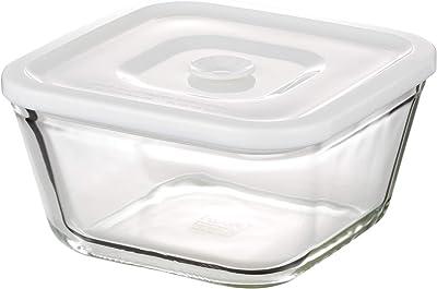 iwaki(イワキ) 耐熱ガラス 密閉容器 ホワイト L 幅15.5×奥行15.5×高さ8.0cm 700ml C3247HMMPW