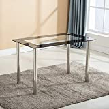 Mecor Modern Dining Table with Glass Top, Leisure Rectangualr Kitchen Table Metal Legs 47IN for 4/6 Persons Rectangular (Black)