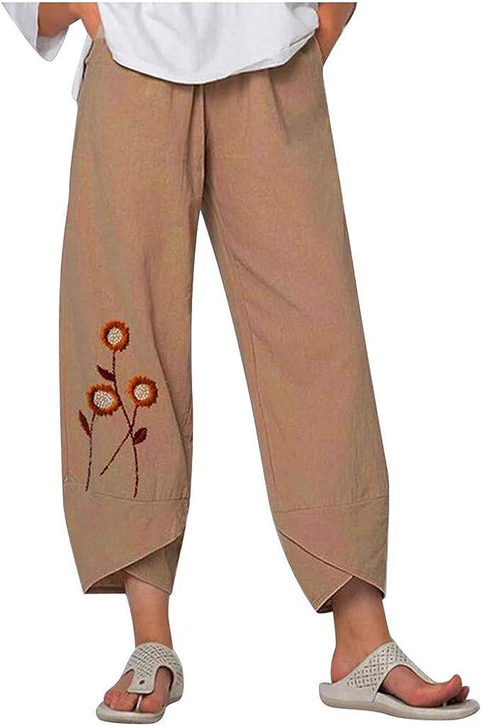 aihihe Summer Pants for Women Casual Cotton Linen Wide Leg Drawstring Elastic Waist Capris Crop Pants with Pockets